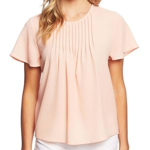 Cece pink tuck crepe ruffle blouse coral pink